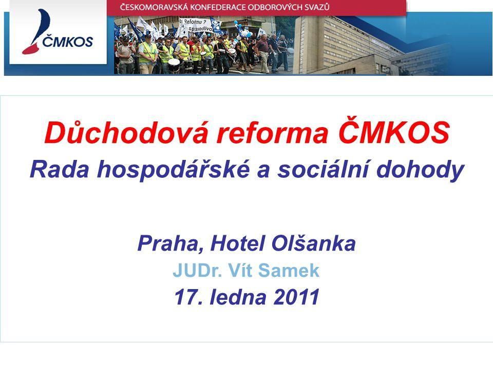 Důchodová reforma ČMKOS Rada hospodářské a sociální dohody Praha, Hotel Olšanka JUDr.