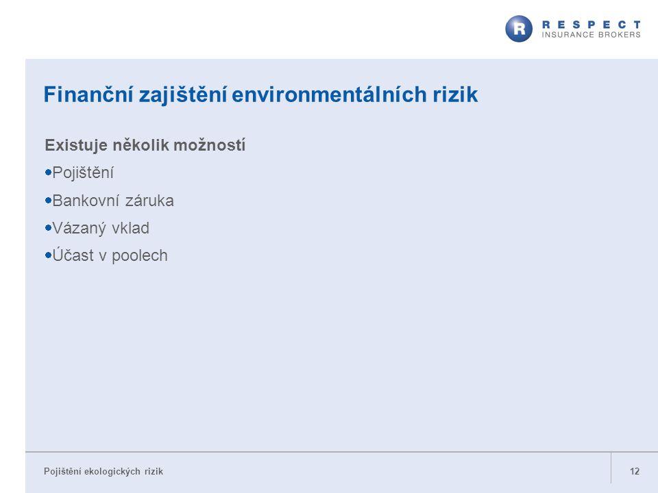 Pojištění ekologických rizik Finanční zajištění environmentálních rizik Existuje několik možností  Pojištění  Bankovní záruka  Vázaný vklad  Účast