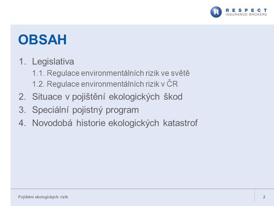 1.Legislativa 1.1. Regulace environmentálních rizik ve světě 1.2. Regulace environmentálních rizik v ČR 2.Situace v pojištění ekologických škod 3.Spec