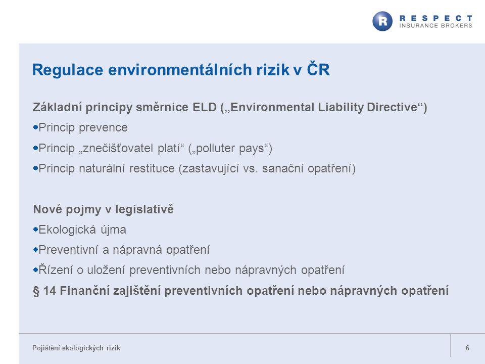 """Pojištění ekologických rizik Regulace environmentálních rizik v ČR Základní principy směrnice ELD (""""Environmental Liability Directive"""")  Princip prev"""