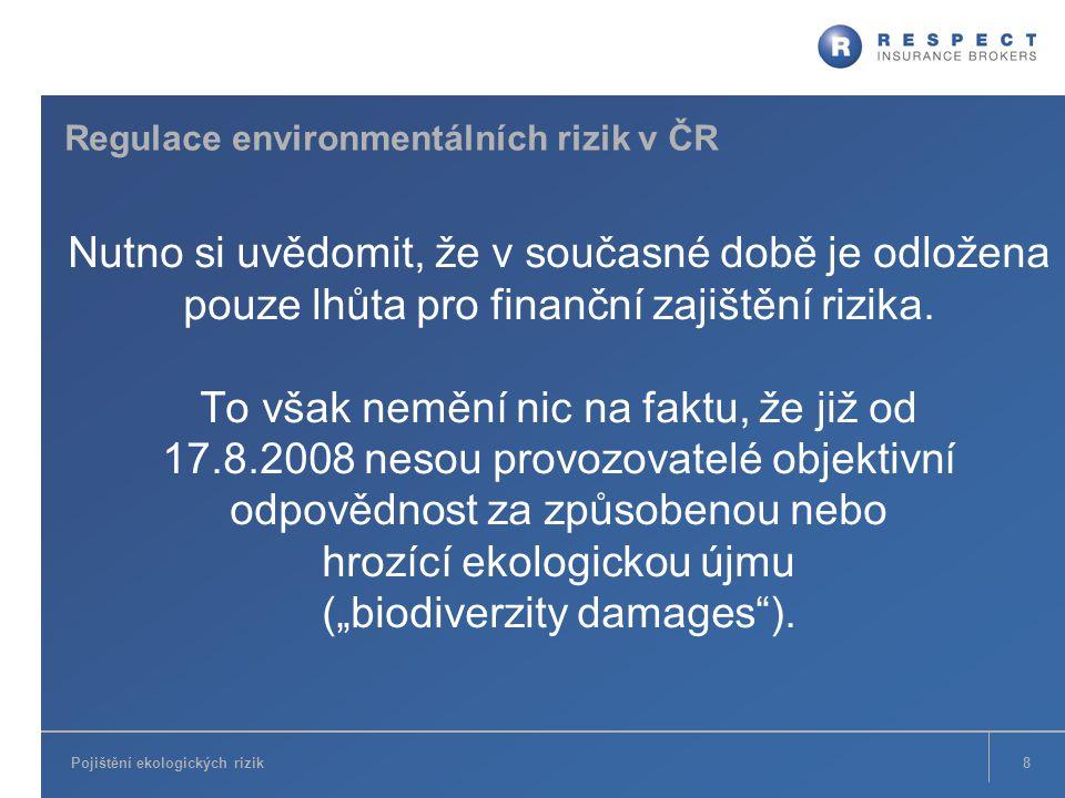 Pojištění ekologických rizik Regulace environmentálních rizik v ČR Nutno si uvědomit, že v současné době je odložena pouze lhůta pro finanční zajištěn