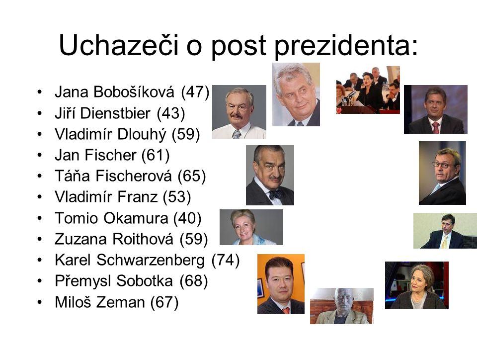 Uchazeči o post prezidenta: Jana Bobošíková (47) Jiří Dienstbier (43) Vladimír Dlouhý (59) Jan Fischer (61) Táňa Fischerová (65) Vladimír Franz (53) T