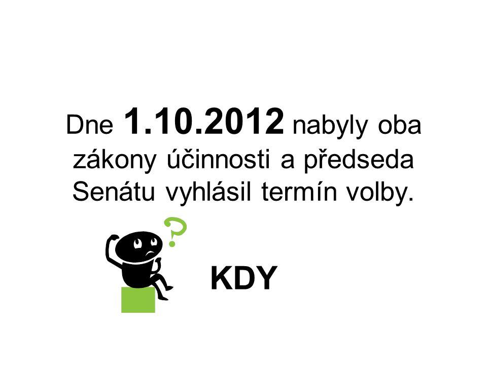 Dne 1.10.2012 nabyly oba zákony účinnosti a předseda Senátu vyhlásil termín volby. KDY