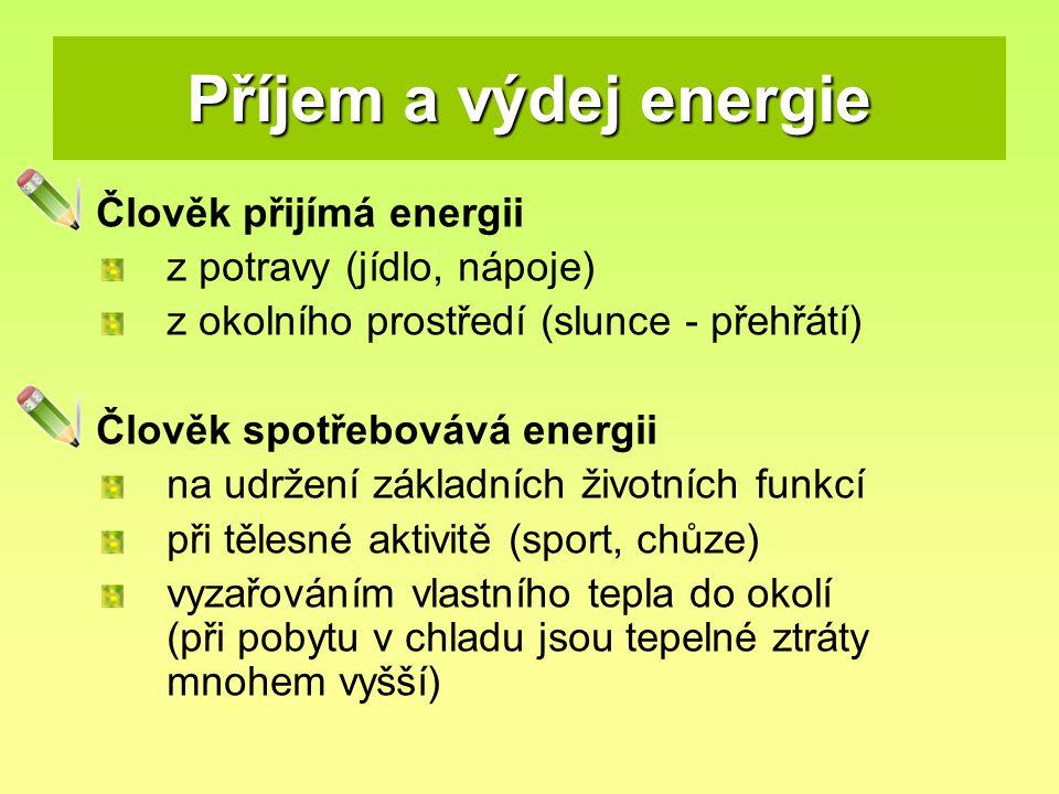 Příjem a výdej energie Člověk přijímá energii z potravy (jídlo, nápoje) z okolního prostředí (slunce - přehřátí) Člověk spotřebovává energii na udržen