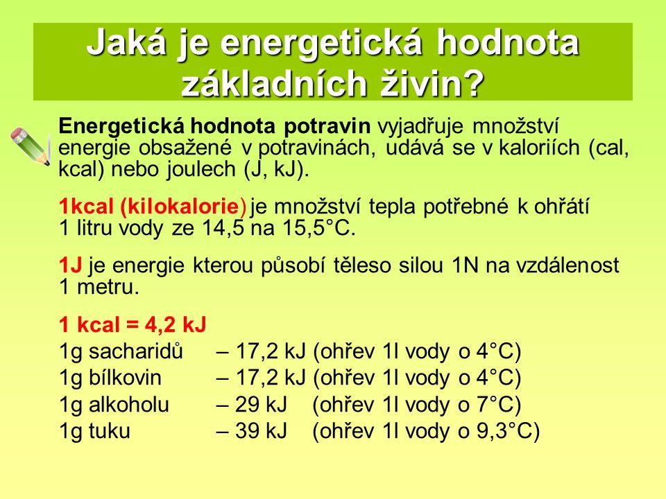 Jaká je energetická hodnota základních živin? Energetická hodnota potravin vyjadřuje množství energie obsažené v potravinách, udává se v kaloriích (ca