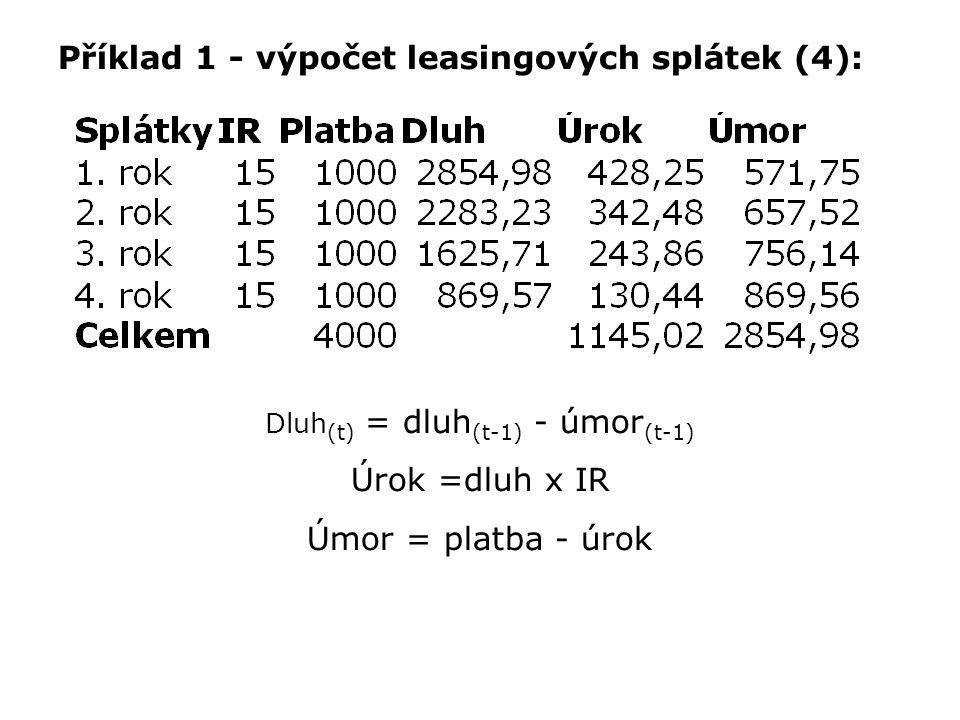 Příklad 1 - výpočet leasingových splátek (4): Dluh (t) = dluh (t-1) - úmor (t-1) Úrok =dluh x IR Úmor = platba - úrok