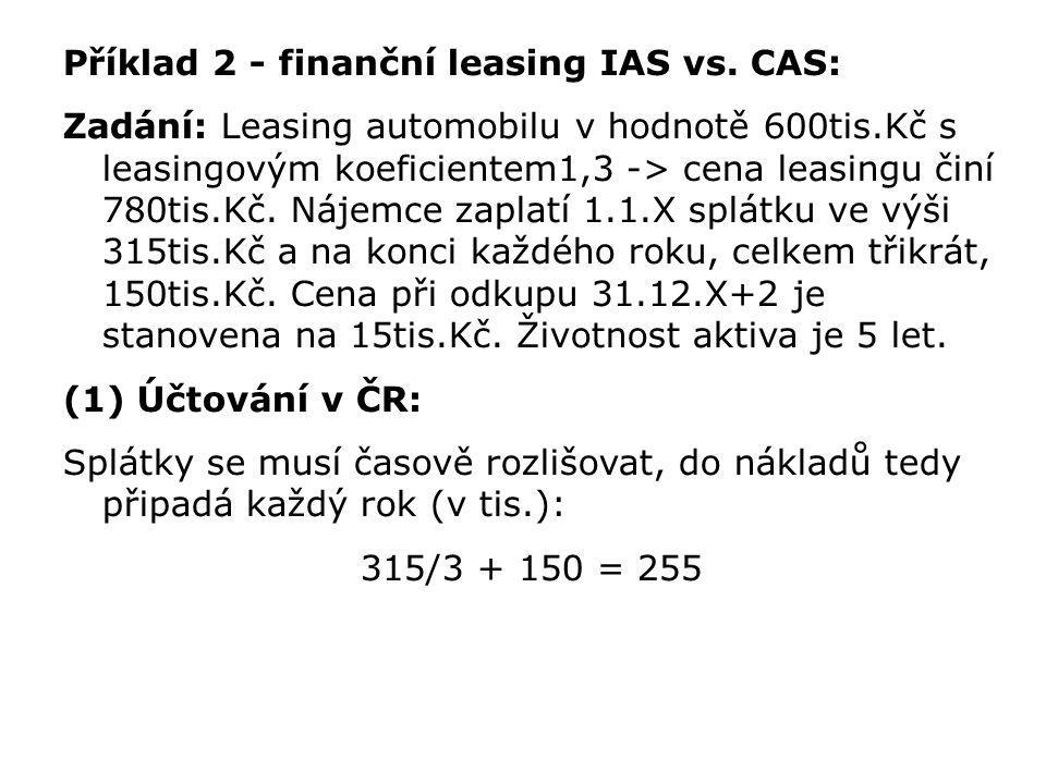 Příklad 2 - finanční leasing IAS vs. CAS: Zadání: Leasing automobilu v hodnotě 600tis.Kč s leasingovým koeficientem1,3 -> cena leasingu činí 780tis.Kč