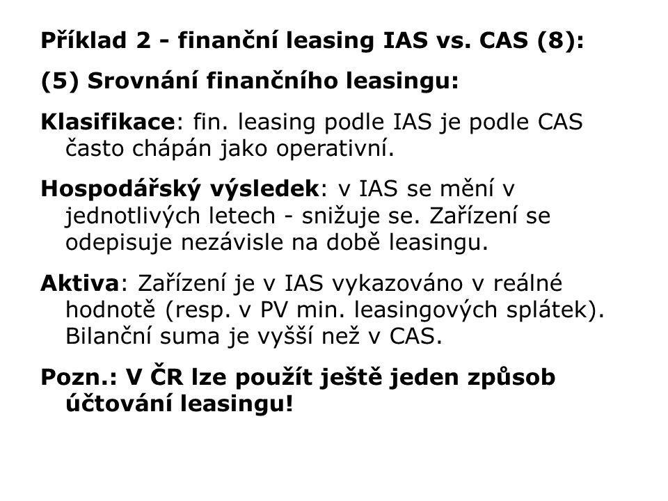 Příklad 2 - finanční leasing IAS vs. CAS (8): (5) Srovnání finančního leasingu: Klasifikace: fin. leasing podle IAS je podle CAS často chápán jako ope