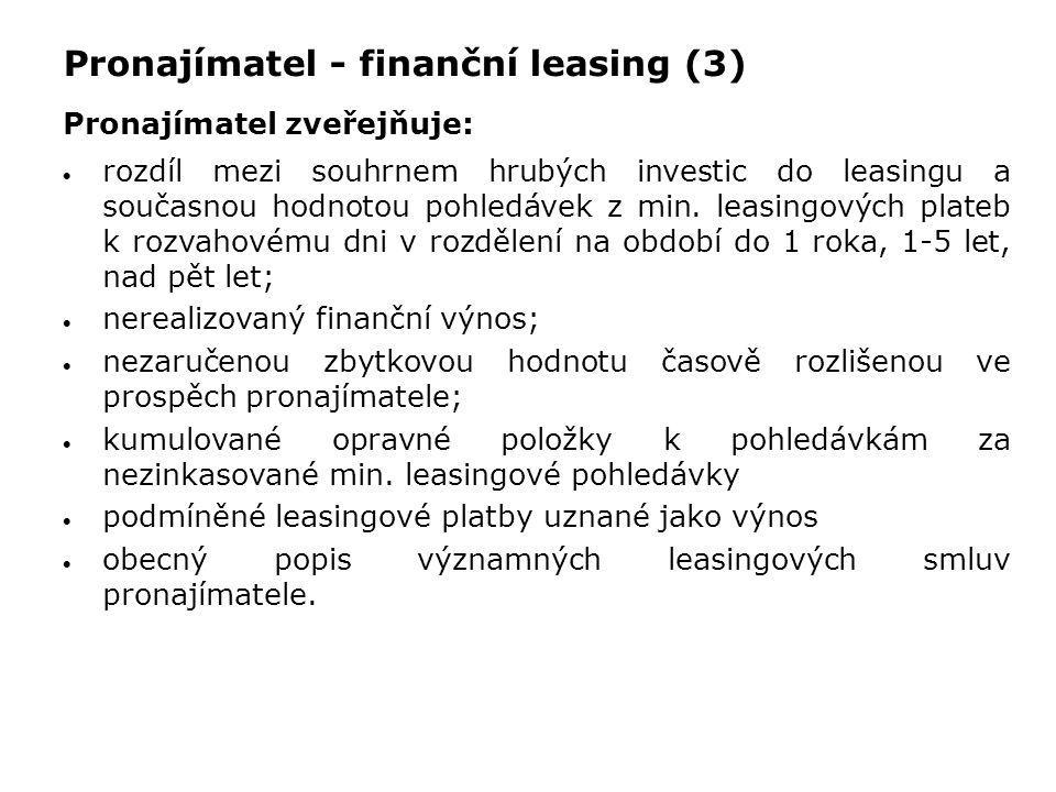 Pronajímatel - finanční leasing (3) Pronajímatel zveřejňuje:  rozdíl mezi souhrnem hrubých investic do leasingu a současnou hodnotou pohledávek z min