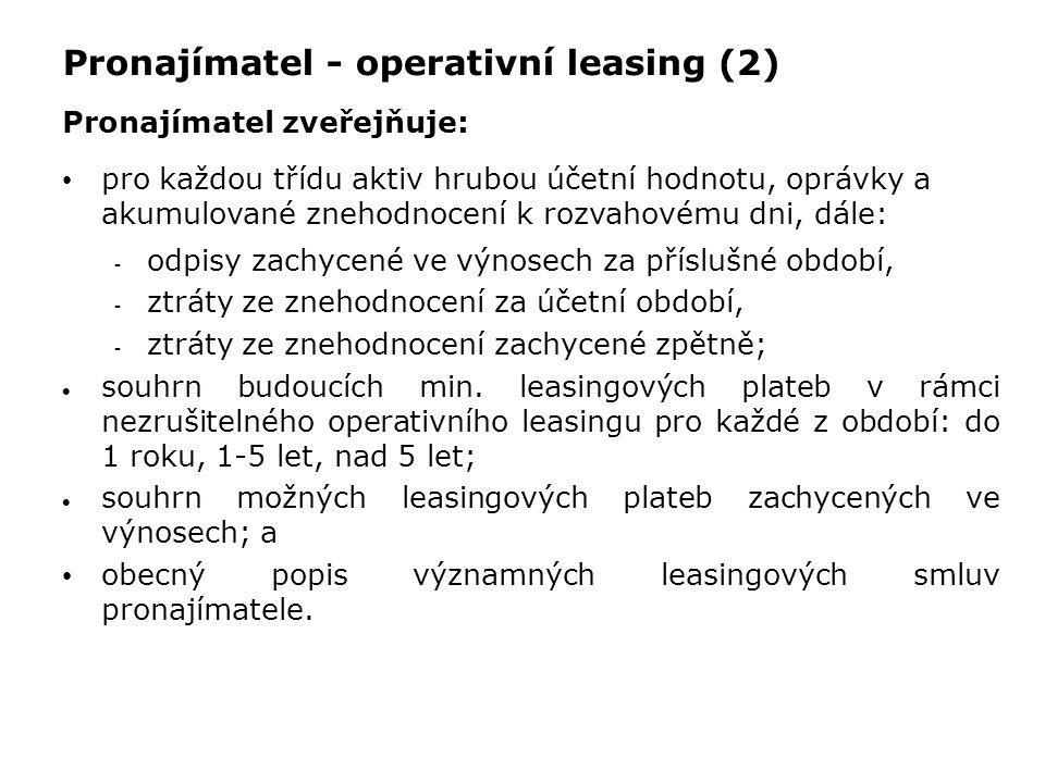 Pronajímatel - operativní leasing (2) Pronajímatel zveřejňuje: pro každou třídu aktiv hrubou účetní hodnotu, oprávky a akumulované znehodnocení k rozv