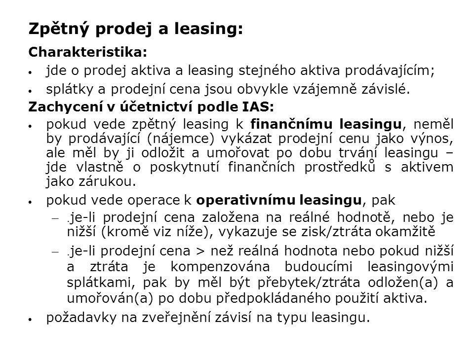 Zpětný prodej a leasing: Charakteristika:  jde o prodej aktiva a leasing stejného aktiva prodávajícím;  splátky a prodejní cena jsou obvykle vzájemn