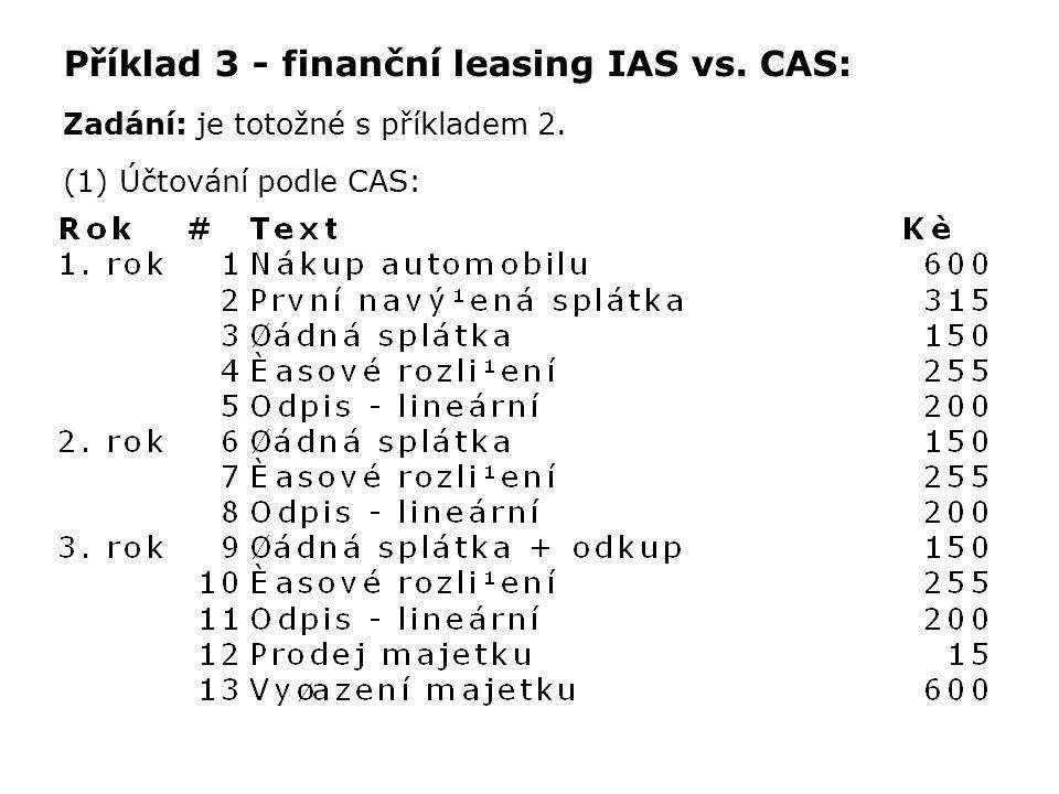 Příklad 3 - finanční leasing IAS vs. CAS: Zadání: je totožné s příkladem 2. (1) Účtování podle CAS: