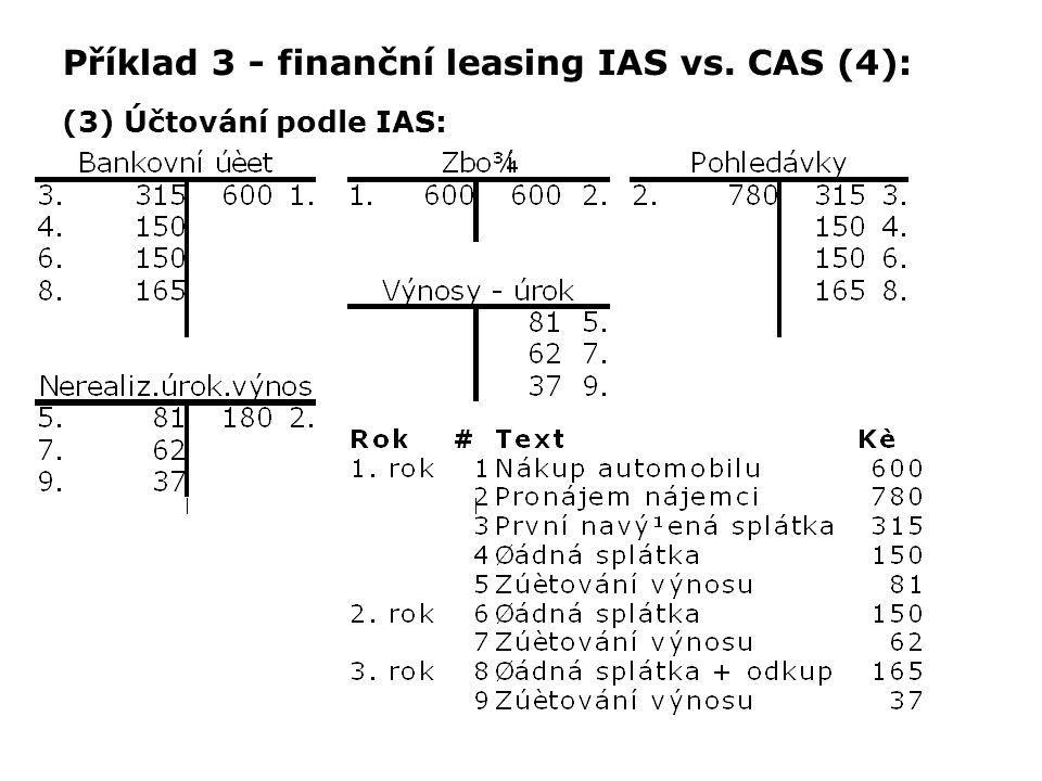 Příklad 3 - finanční leasing IAS vs. CAS (4): (3) Účtování podle IAS: