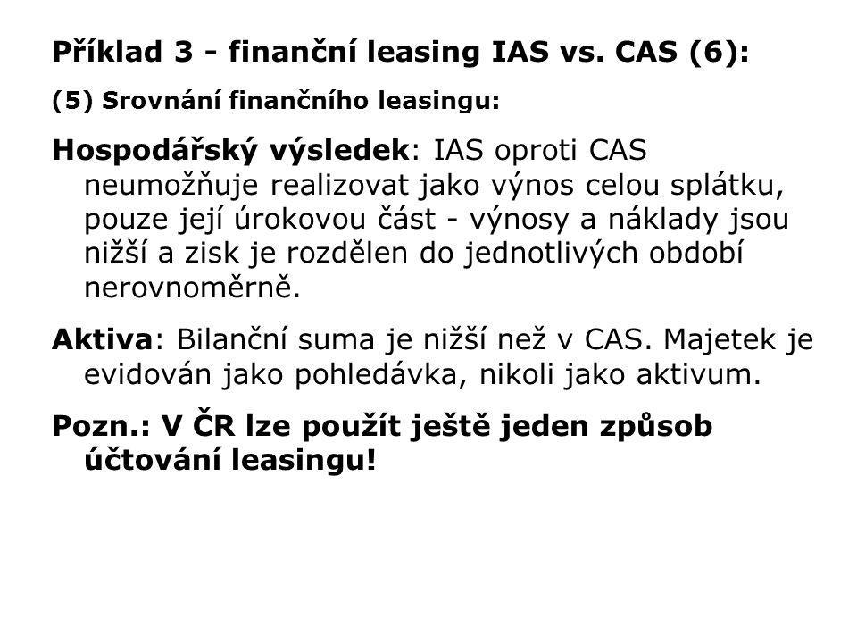 Příklad 3 - finanční leasing IAS vs. CAS (6): (5) Srovnání finančního leasingu: Hospodářský výsledek: IAS oproti CAS neumožňuje realizovat jako výnos