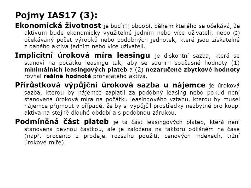 Příklad 2 - finanční leasing IAS vs. CAS (3): (2) Výkazy podle CAS: