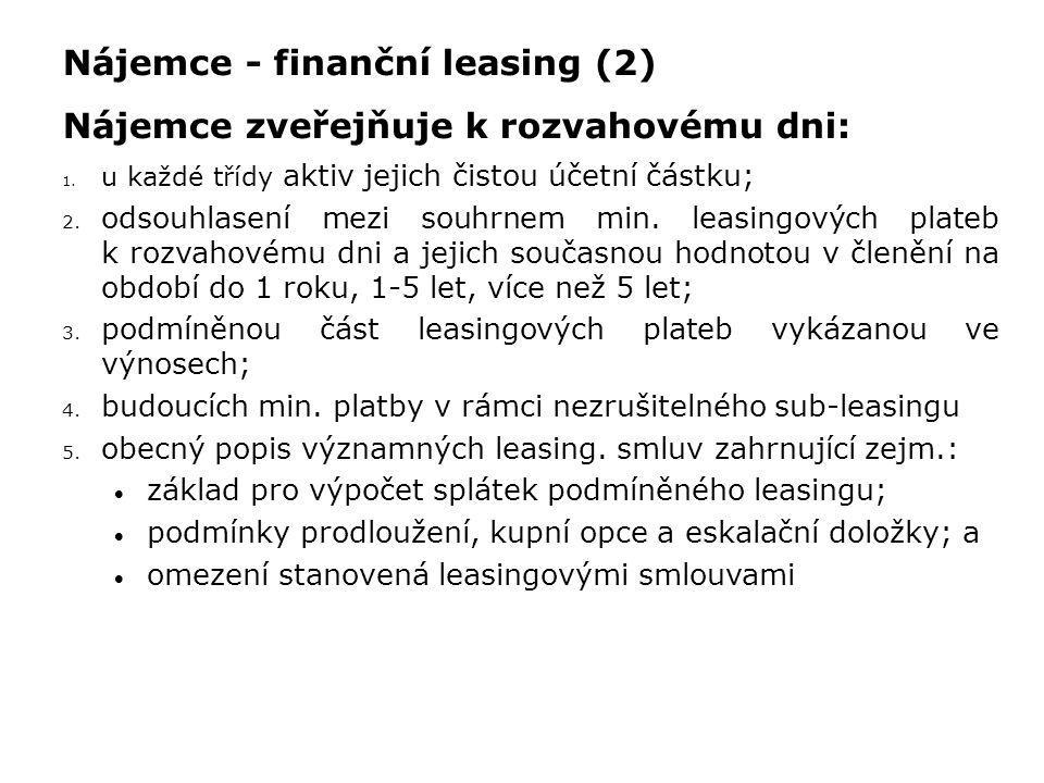 Nájemce - finanční leasing (2) Nájemce zveřejňuje k rozvahovému dni: 1. u každé třídy aktiv jejich čistou účetní částku; 2. odsouhlasení mezi souhrnem