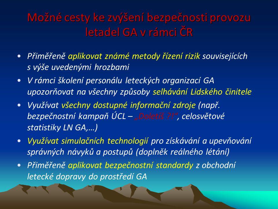 Možné cesty ke zvýšení bezpečnosti provozu letadel GA v rámci ČR Přiměřeně aplikovat známé metody řízení rizik souvisejících s výše uvedenými hrozbami
