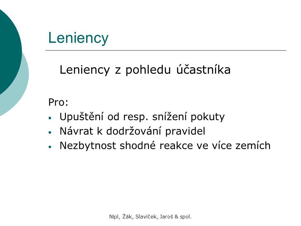 Nipl, Žák, Slavíček, Jaroš & spol. Leniency Leniency z pohledu účastníka Pro: Upuštění od resp. snížení pokuty Návrat k dodržování pravidel Nezbytnost