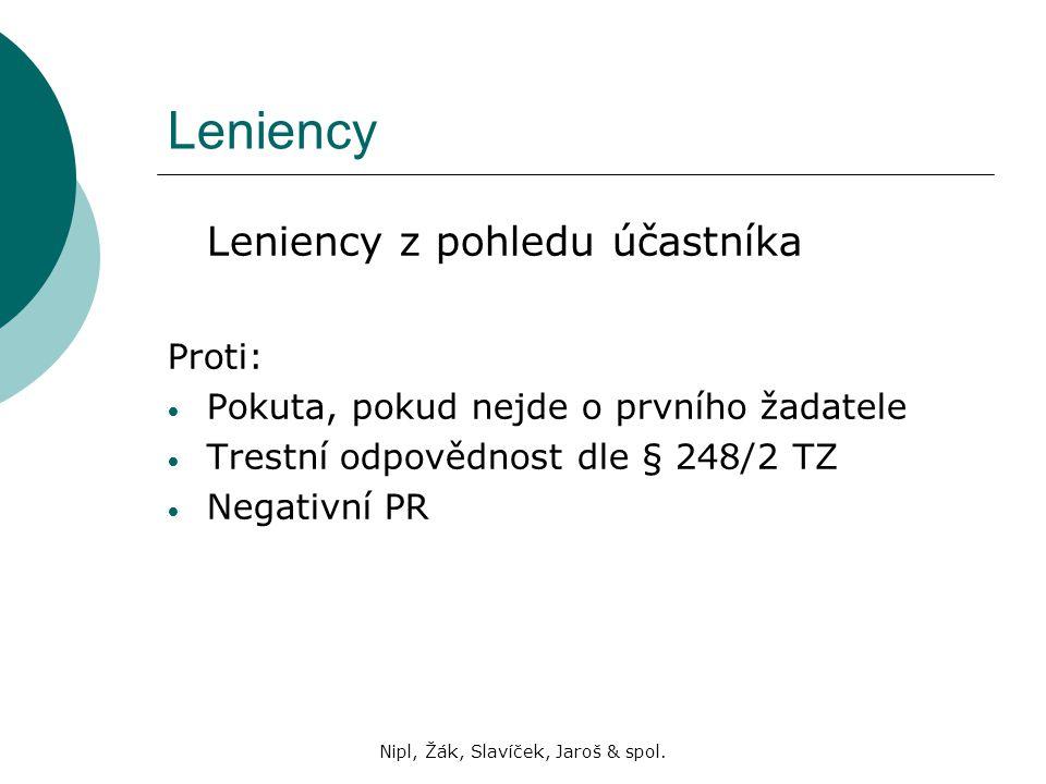 Nipl, Žák, Slavíček, Jaroš & spol. Leniency Leniency z pohledu účastníka Proti: Pokuta, pokud nejde o prvního žadatele Trestní odpovědnost dle § 248/2