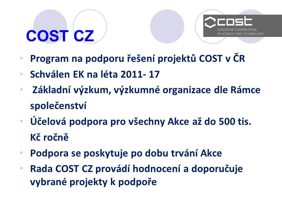 COST CZ Program na podporu řešení projektů COST v ČR Schválen EK na léta 2011- 17 Základní výzkum, výzkumné organizace dle Rámce společenství Účelová podpora pro všechny Akce až do 500 tis.