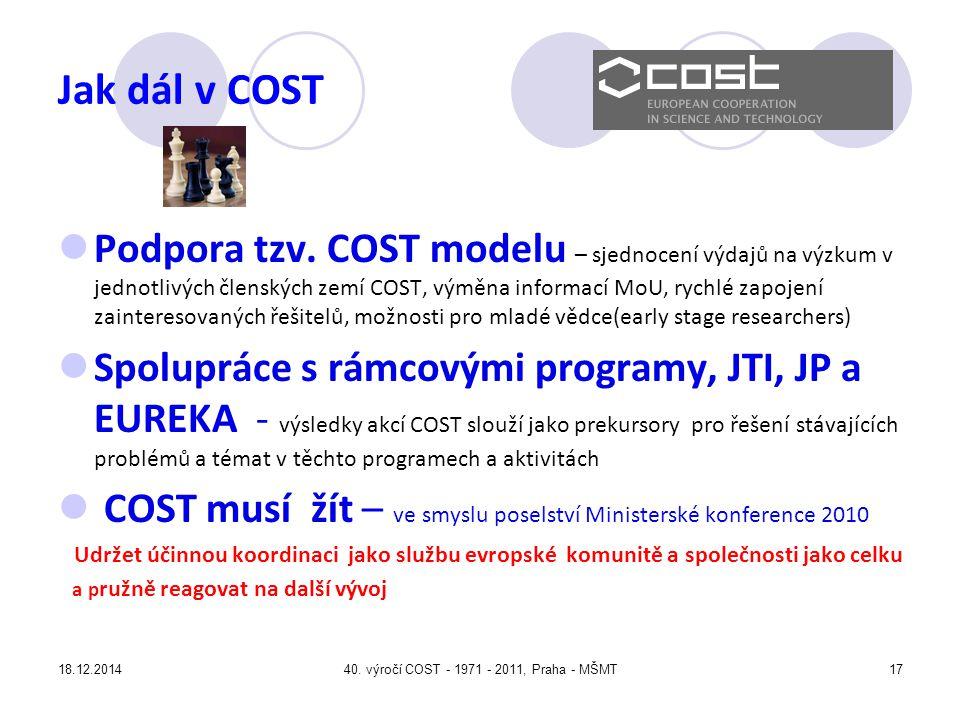 18.12.201440.výročí COST - 1971 - 2011, Praha - MŠMT17 Jak dál v COST Podpora tzv.