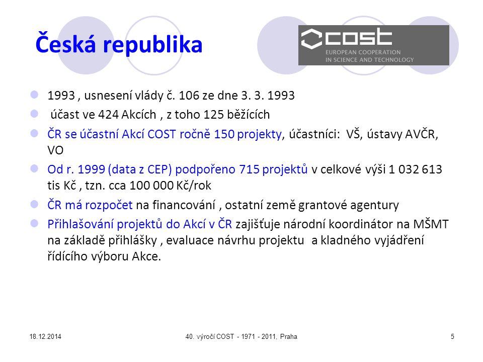 18.12.201440.výročí COST - 1971 - 2011, Praha5 Česká republika 1993, usnesení vlády č.