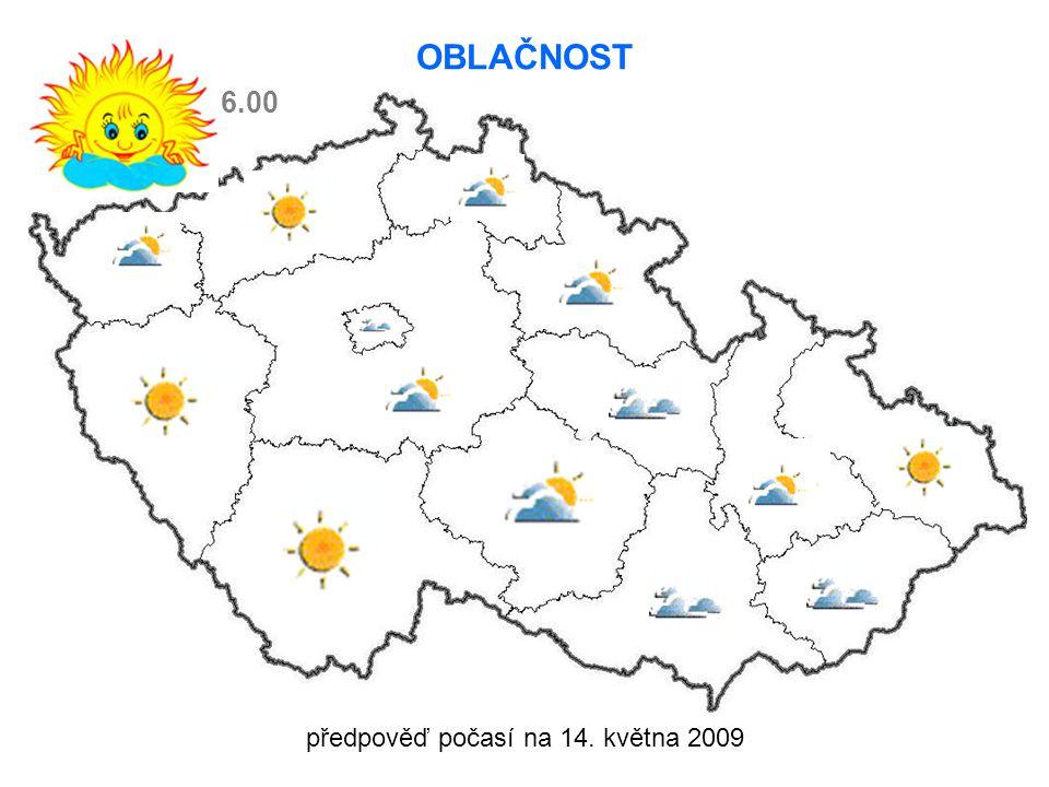 předpověď počasí na 14. května 2009 OBLAČNOST 6.00