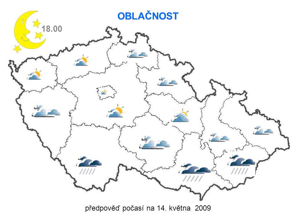 předpověď počasí na 14. května 2009 VÍTR 18.00 3-5 m/s 6-8 m/s