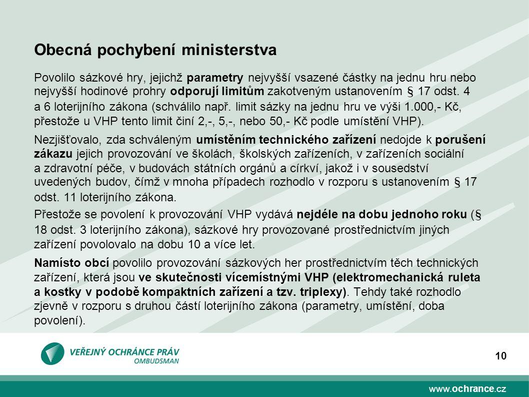 www.ochrance.cz 10 Povolilo sázkové hry, jejichž parametry nejvyšší vsazené částky na jednu hru nebo nejvyšší hodinové prohry odporují limitům zakotveným ustanovením § 17 odst.