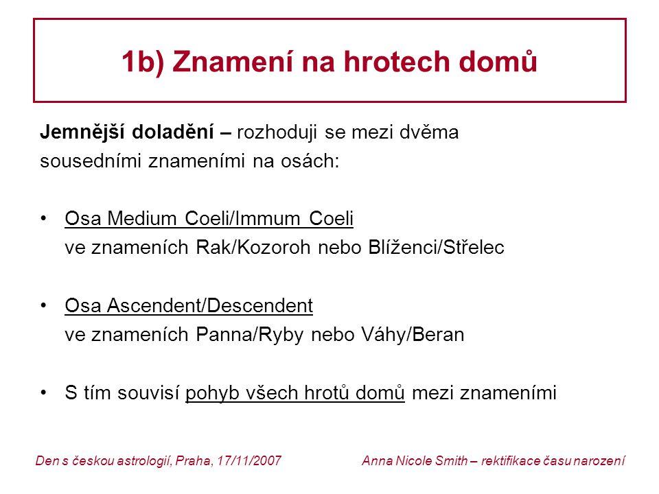 Anna Nicole Smith – rektifikace času narozeníDen s českou astrologií, Praha, 17/11/2007 1b) Znamení na hrotech domů
