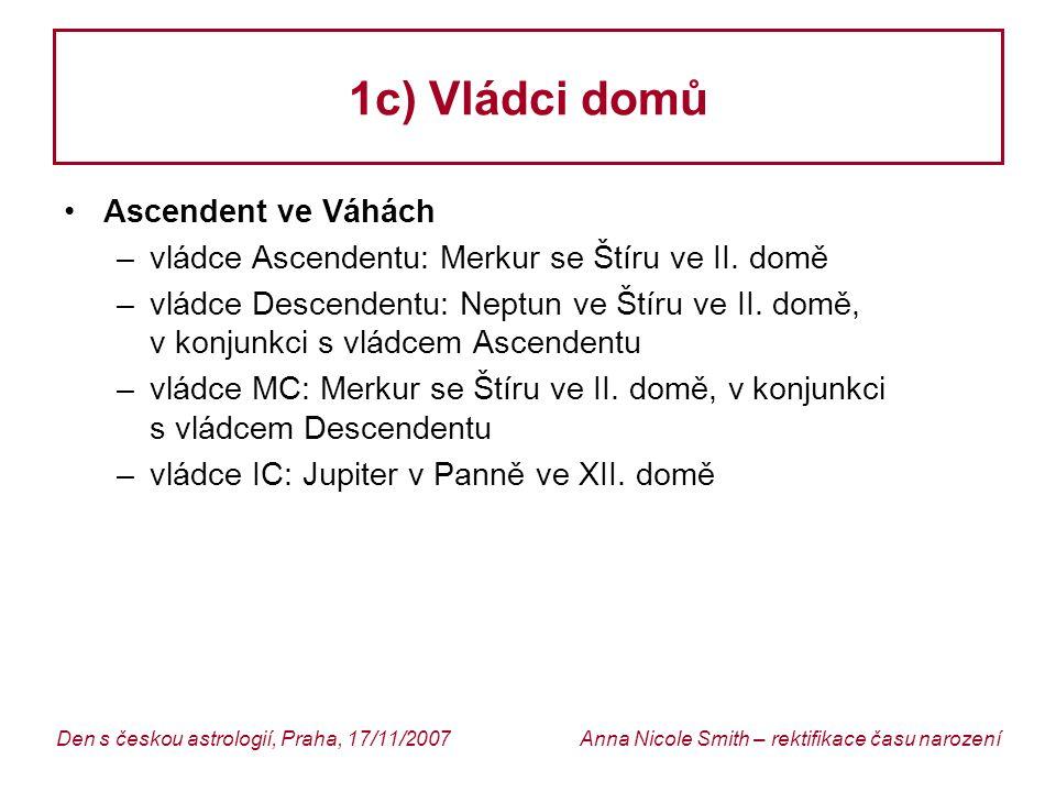 Anna Nicole Smith – rektifikace času narozeníDen s českou astrologií, Praha, 17/11/2007 1c) Vládci domů Ascendent ve Váhách –vládce Ascendentu: Merkur se Štíru ve II.