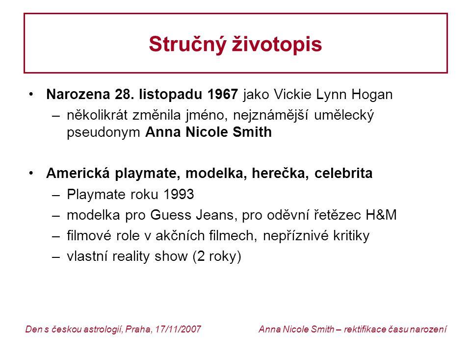 Anna Nicole Smith – rektifikace času narozeníDen s českou astrologií, Praha, 17/11/2007 Stručný životopis Narozena 28.