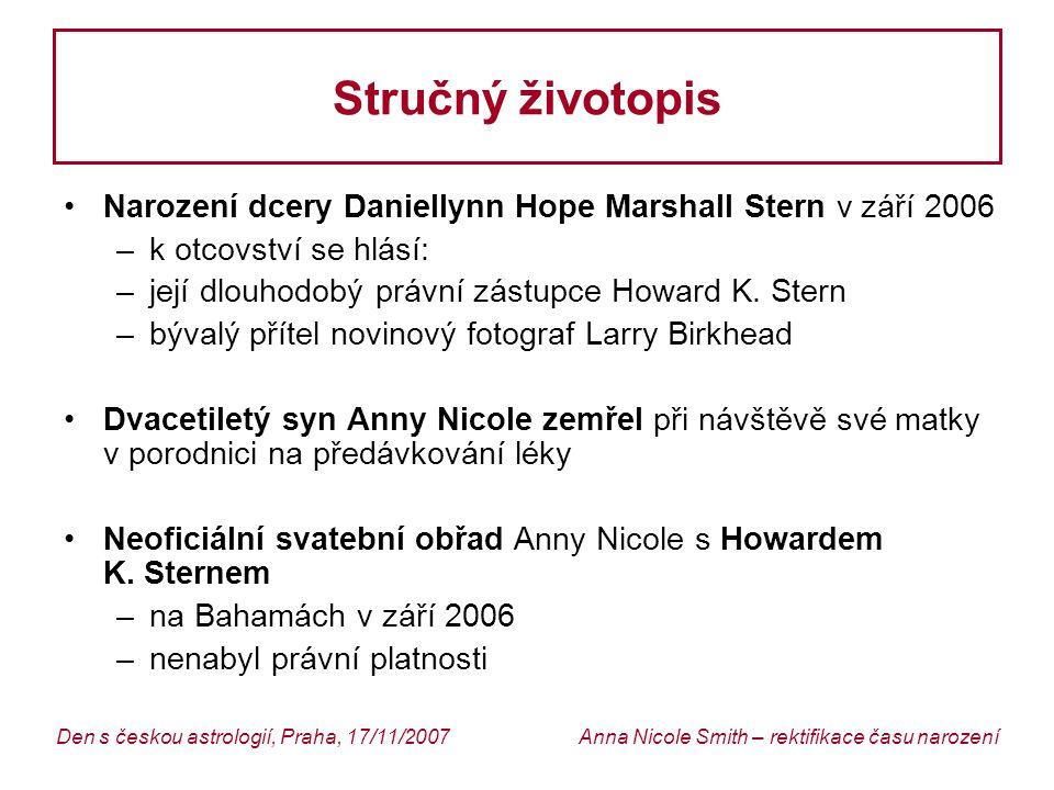 Anna Nicole Smith – rektifikace času narozeníDen s českou astrologií, Praha, 17/11/2007 Stručný životopis Narození dcery Daniellynn Hope Marshall Stern v září 2006 –k otcovství se hlásí: –její dlouhodobý právní zástupce Howard K.