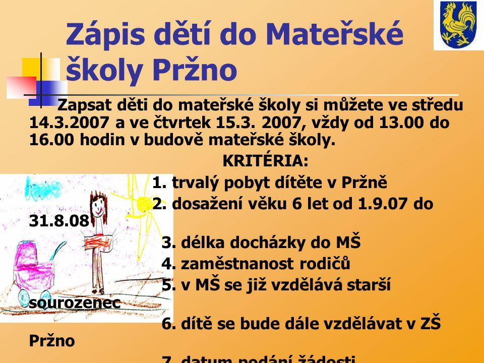 Zápis dětí do Mateřské školy Pržno Zapsat děti do mateřské školy si můžete ve středu 14.3.2007 a ve čtvrtek 15.3. 2007, vždy od 13.00 do 16.00 hodin v