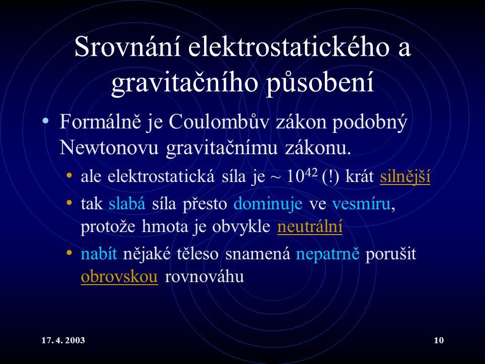 17. 4. 200310 Srovnání elektrostatického a gravitačního působení Formálně je Coulombův zákon podobný Newtonovu gravitačnímu zákonu. ale elektrostatick