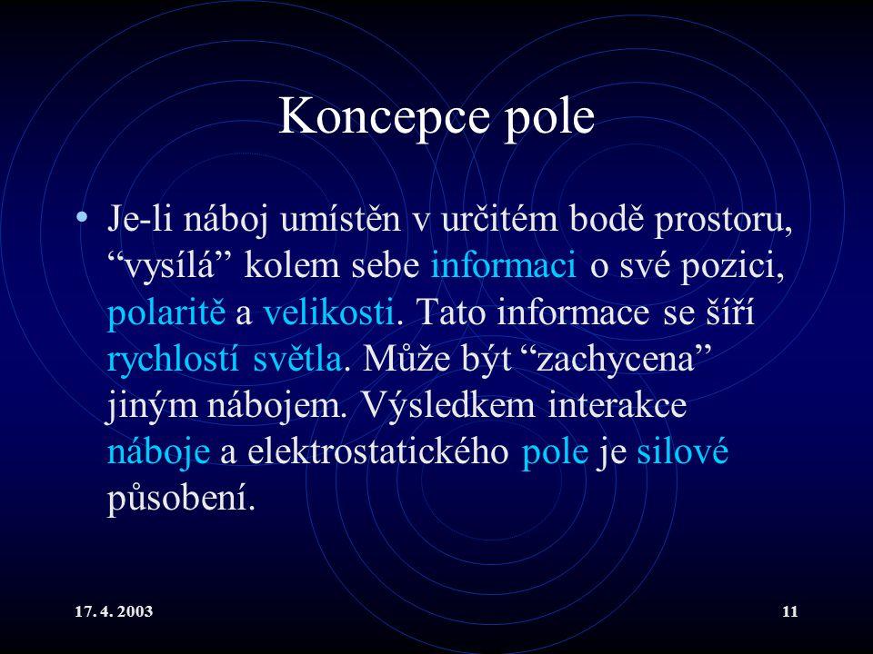 """17. 4. 200311 Koncepce pole Je-li náboj umístěn v určitém bodě prostoru, """"vysílá"""" kolem sebe informaci o své pozici, polaritě a velikosti. Tato inform"""