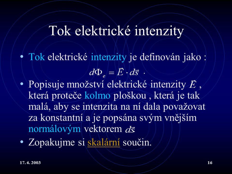 17. 4. 200316 Tok elektrické intenzity Tok elektrické intenzity je definován jako :. Popisuje množství elektrické intenzity, která proteče kolmo plošk