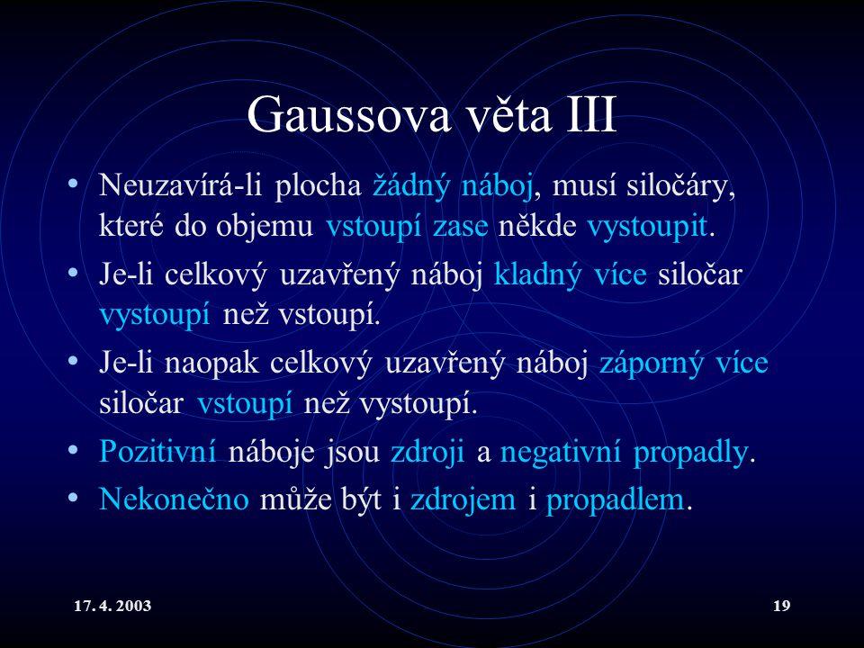 17. 4. 200319 Gaussova věta III Neuzavírá-li plocha žádný náboj, musí siločáry, které do objemu vstoupí zase někde vystoupit. Je-li celkový uzavřený n
