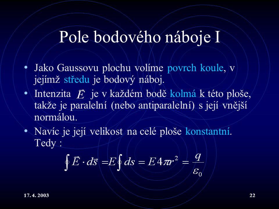 17. 4. 200322 Pole bodového náboje I Jako Gaussovu plochu volíme povrch koule, v jejímž středu je bodový náboj. Intenzita je v každém bodě kolmá k tét