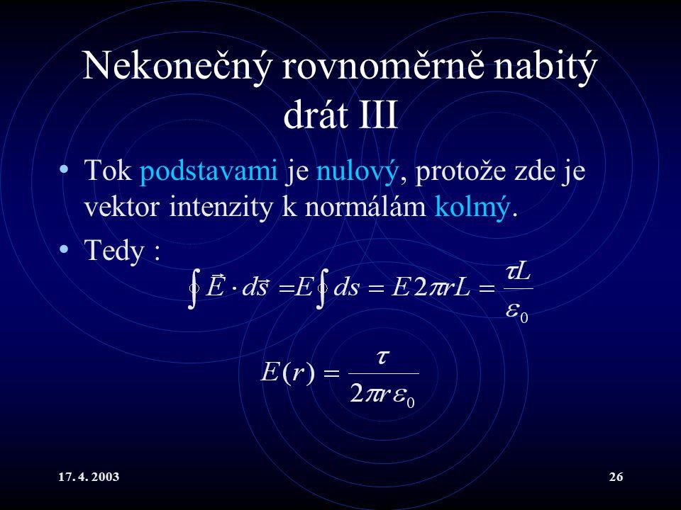 17. 4. 200326 Nekonečný rovnoměrně nabitý drát III Tok podstavami je nulový, protože zde je vektor intenzity k normálám kolmý. Tedy :