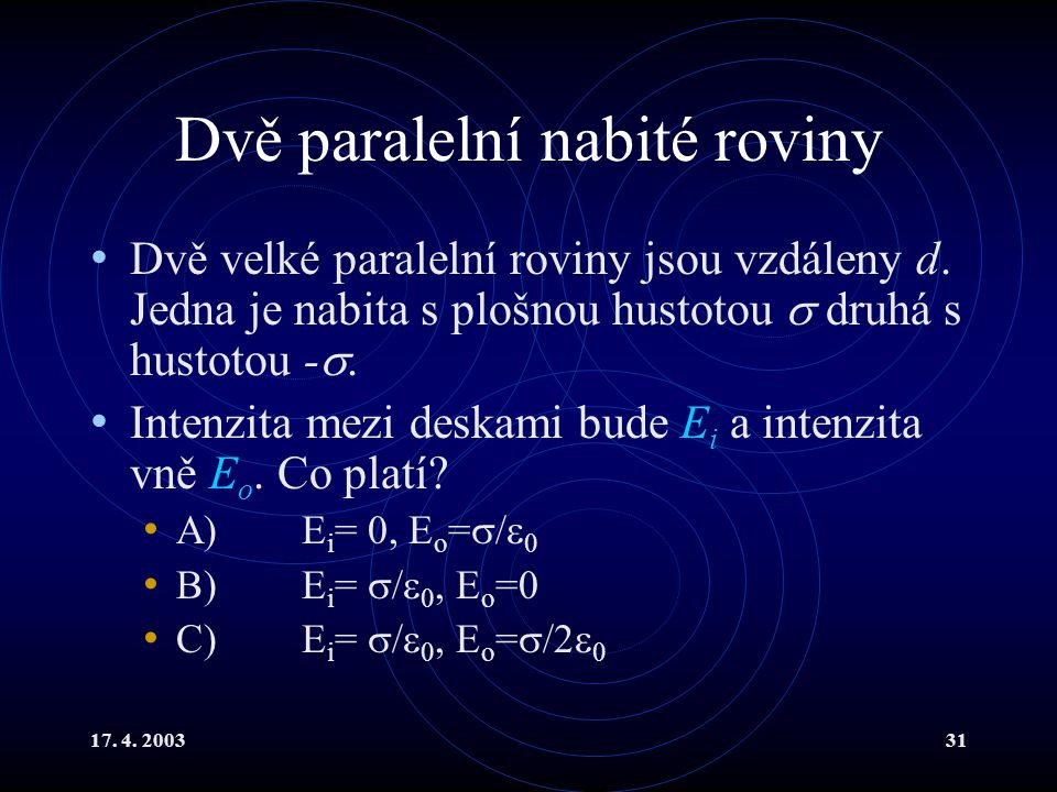 17. 4. 200331 Dvě paralelní nabité roviny Dvě velké paralelní roviny jsou vzdáleny d. Jedna je nabita s plošnou hustotou  druhá s hustotou - . Inten