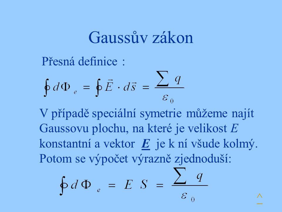 Gaussův zákon Přesná definice : V případě speciální symetrie můžeme najít Gaussovu plochu, na které je velikost E konstantní a vektor E je k ní všude