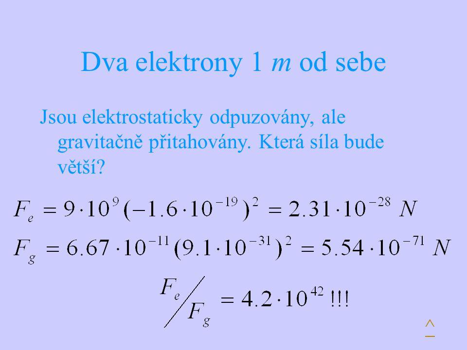 Dva elektrony 1 m od sebe Jsou elektrostaticky odpuzovány, ale gravitačně přitahovány. Která síla bude větší? ^