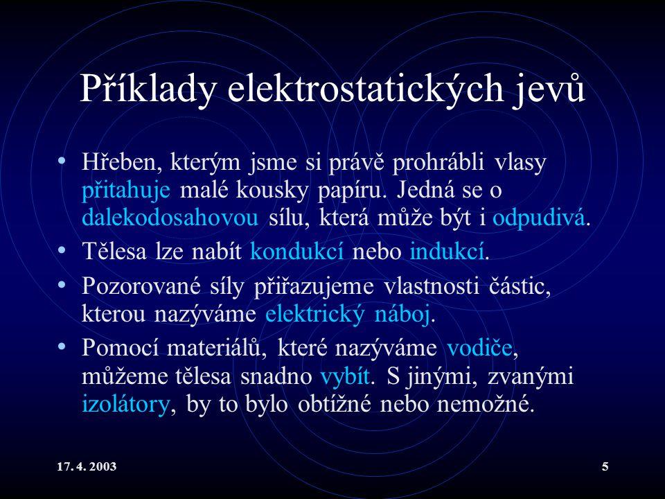 17. 4. 20035 Příklady elektrostatických jevů Hřeben, kterým jsme si právě prohrábli vlasy přitahuje malé kousky papíru. Jedná se o dalekodosahovou síl
