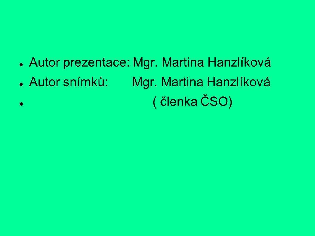 Autor prezentace: Mgr. Martina Hanzlíková Autor snímků: Mgr. Martina Hanzlíková ( členka ČSO)