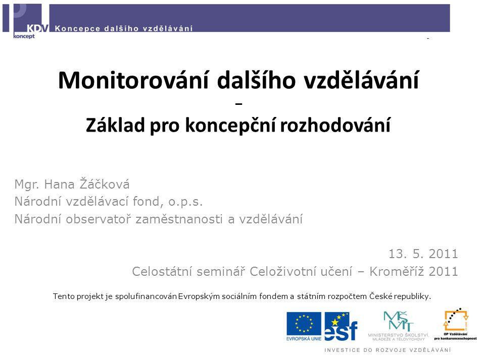 Monitorování dalšího vzdělávání – Základ pro koncepční rozhodování Mgr.