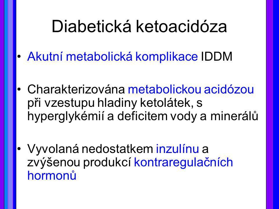 Diabetická ketoacidóza Akutní metabolická komplikace IDDM Charakterizována metabolickou acidózou při vzestupu hladiny ketolátek, s hyperglykémií a def