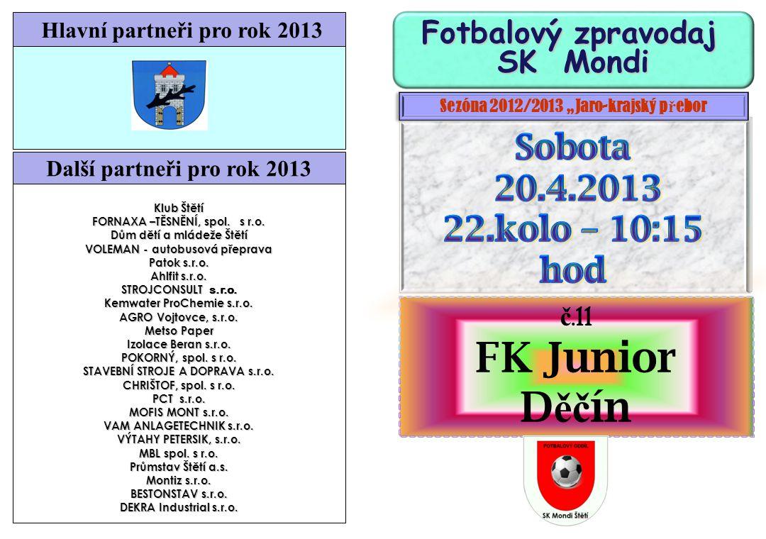 Zítra hrají dorostenci v Lounech FK Louny - SK Mondi Štětí 21.4.2013 18.kolo Starší dorost výkop 10:15 Mladší dorost výkop 12:30 Odjezd 8:00 Výsledky 17.kola krajského přeboru starších dorostenců Tatran Kadaň Ervěnice3:5(0:2) FK Litvínov Bílina0:2(0:0) Štětí FK Litoměřice2:3(0:2) Slavoj Žatec Lovosice8:0(2:0) LoKo Chomutov Louny0:5(0:2) Roudnice n/L FC Chomutov1:1(0:0) Neštěmice Junior Děčín5:2(2:1) Výsledky 17.kola krajského přeboru mladších dorostenců Tatran Kadaň Ervěnice4:0(1:0) FK Litvínov Bílina8:1(2:1) Štětí FK Litoměřice1:7(1:1) Slavoj Žatec Lovosice5:0(2.0) LoKo Chomutov Louny1:2(0:2) Roudnice n/L FC Chomutov0:3(0:1) Neštěmice Junior Děčín4:7(1:3) Blšany – Horní Jiřetín 1:1(1:1) po zápase se o remíze hovořilo jako o spravedlivé, hosté vedli od 28.minuty brankou Dolejšky, domácí ve 35.min.