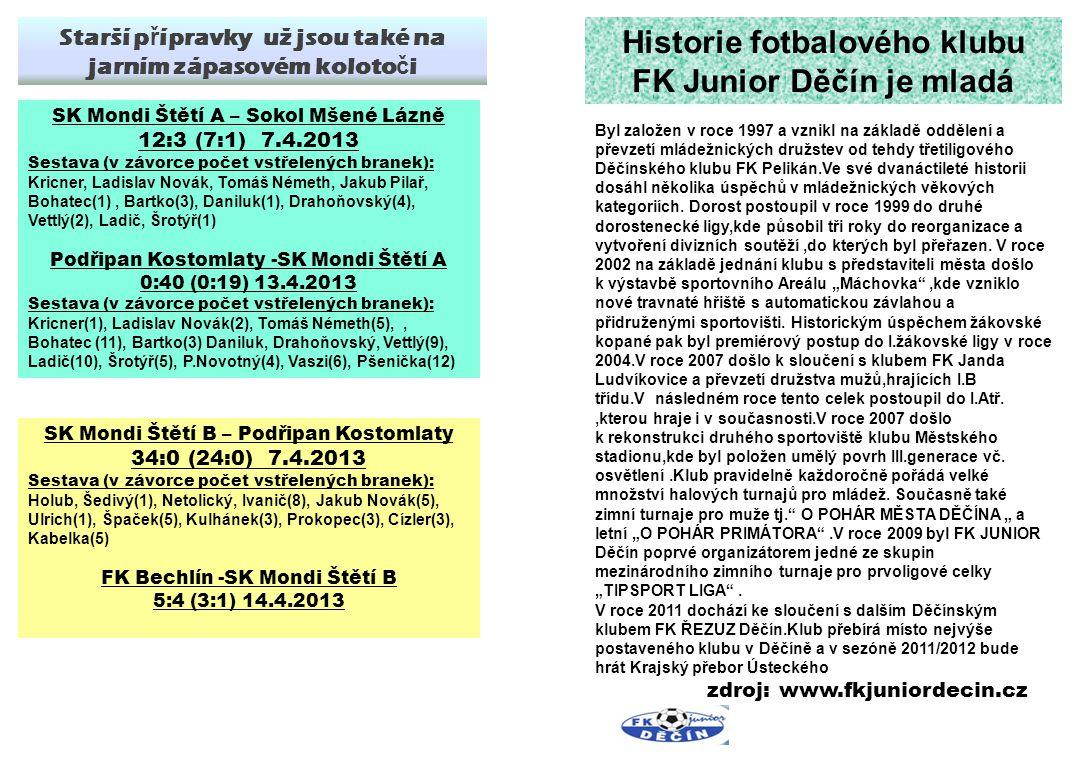FK Junior Děčín – SK Mondi Štětí 1 :3(0:1) 7.kolo 23.9.2012 Branky: Stejskal 1, Kucler 1, Kala 1 Sestava: Michovský- Slanička, Tůma, Šmikdrkal-Kala, Remenec(61.Tichý), Stejskal, Kucler(81.J.Svoboda), Mencl-Belák, Rejman(85.Ransdorf) Připraveni: J.Svoboda Trenér: J.Kala Asistent: M.Hamšík Vedoucí: D.Lisec Masér: J.Nedomlel Z Děčína jsme si na podzim 2 brankami vstřelených v posledních 15 minutách zápasu přivezli 3 body 11.kolo okresního p ř eboru mladších ž ák ů 13.4.2013 Trav č ice - Podlusky 2:12 13.4.2013 Libochovice - T ř ebenice 5:2(2:0) 14.4.2013 Bezd ě kov - Št ě tí 5:2(3:0) SK Mondi Št ě tí – SK Roudnice n.L.
