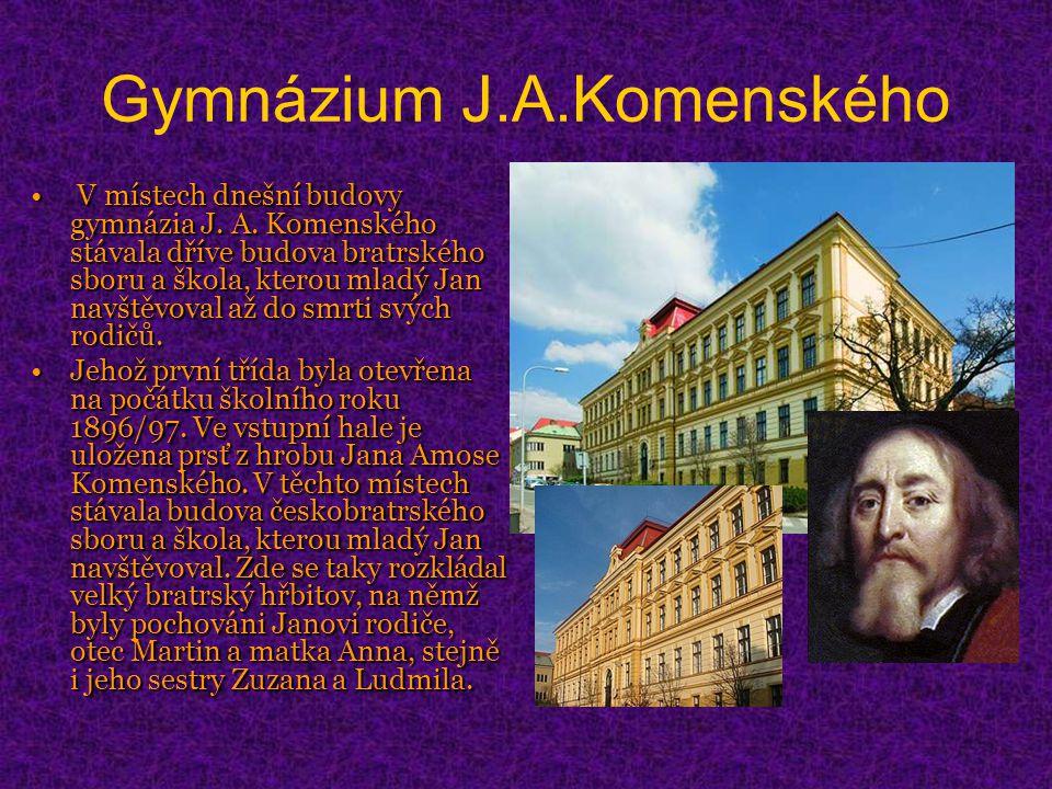 Gymnázium J.A.Komenského V místech dnešní budovy gymnázia J.